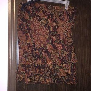 Lauren Ralph Lauren brown paisley skirt. Size 12.